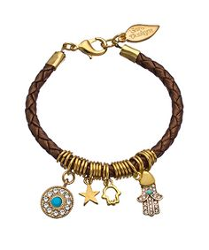 Sara Designs Gold And Pewter Braided Leather Charm Bracelet