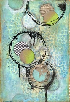 Clutter art journal page by Jill Wheeler, featuring Scrap FX products: Circles stencil, and Scribble Circles silhouettes. www.scrapfx.com.au