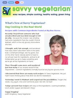 2.21.14: Veg Cooking in the Real World - Recipes with Common Ingredients Found at Big Box Stores