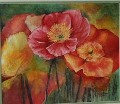 Drifting Poppies, Watercolour by Elizabeth Little