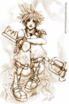 Yes, He´s SORA from KINGDOM HEARTS! In this pic Sora is a bit older, around 16 years old or so. Sora And Kairi, Kingdom Hearts Games, Final Fantasy Artwork, Weird Dreams, Cartoon Games, Geek Out, Disney Art, Sketches, Fan Art
