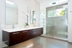 floating vanity Bathroom Contemporary with dark wood vanity clear glass shower door