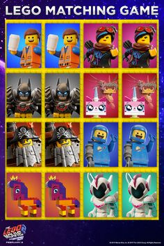 Do you have what it takes to match up your favorite heroes? in theaters February February 8, Movie Tickets, Lego Movie 2, Memory Games, About Time Movie, Lego Duplo, Matching Games, Legos, Fun Activities