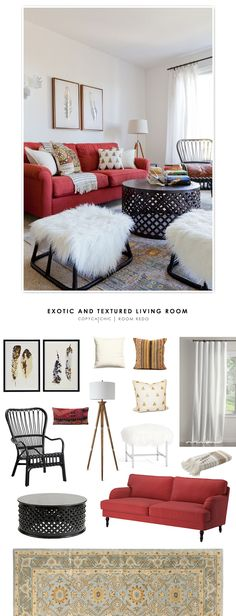 Exotic & Textured Living Room designed by Lada Webster recreated for less by @audreycdyer
