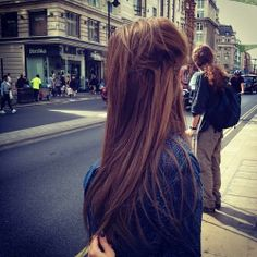 Gorgeous straight hair luv the pinned poof & the color....