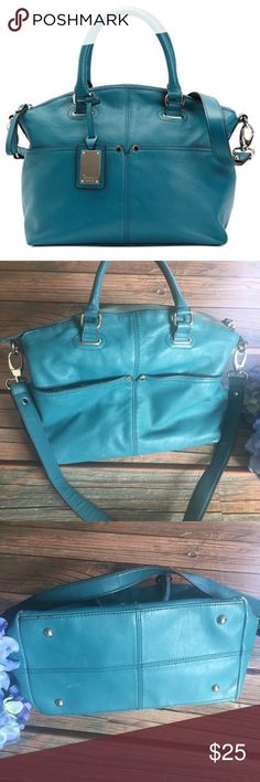 Turquoise Tignanello Satchel Purse Good used condition. Does show some wear in corners where color has rubbed off. I believe this bag is genuine leather! Great quality bag with tons of life left and perfect to brighten up your Spring! Tignanello Bags Satchels