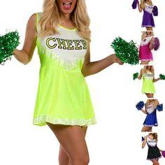 Summer New Sexy Stretchy Basketball Teem Cheerleaders Costumes Womens Sleeveless Slim Tank Dress Party Cosplay Costumes Football Halloween Costume, Halloween Costumes, School Uniform Girls, Girls Uniforms, Violet Rouge, Green Costumes, Cheerleader Costume, Cheerleading, Sexy Lingerie