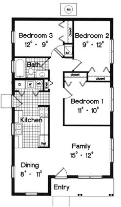 House Plans By Korel Home Designs Small House Plan. Maybe No Bedroom #3 And  Use It For Living Room Space. | Interior U0026 Architecture.