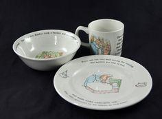 Wedgwood Peter Rabbit 3 Piece Set Cup Bowl Plate