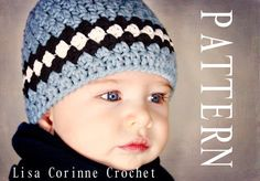 Baby Boy Hat PATTERN PDF - Striped Beanie Cap - Easy Modern Crochet Infant Hat - Baby Fashion Bonnet. $4.95, via Etsy.