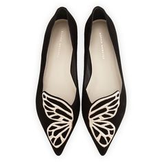 Sophia Webster Bibi Butterfly Embroidered Suede Flat ($370) ❤ liked on Polyvore featuring shoes, flats, footwear, suede pointed toe flats, flat pumps, slip on shoes, black flat shoes and slip on flats