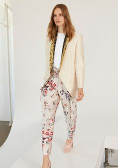 5159717ef2b Sand Cotton Rhea Jacket, Strong Shapes Round Neck Jumper, Wild Flower  Armand Trousers.