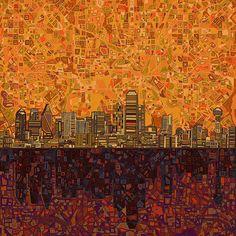 Title  Dallas Skyline Abstract   Artist  MB Art factory   Medium  Painting - Digital Art