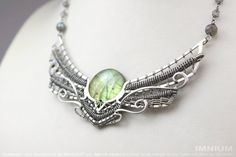 Winged sun necklace  green labradorite sterling silver by IMNIUM