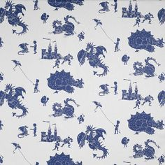 Blue dragon Kids Fabric   ere be dragons Fabric   PaperBoy Dragon & Knight Curtain Fabric