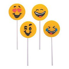 Emoji Face Large Frosted Lollipops - 12 Pk Party Supplies Canada - Open A Party