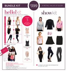 Hello + Show Kit Bundle..  This will give you an outfit to wear plus some samples of the current Fashion Items and Shaping Essentials AND Shapewear.  If you can't get them all this is the perfect way to go. www.rubyribbon.com/MarieStreet