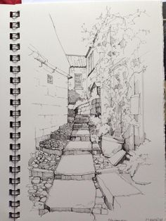 @DrawnYorkshire #DrawingAugust day28 steps in #robinhoodsbay @poppies_gifts @coastmag @RobinHoodsBayUK @WhitbyNow @The_Big_Draw