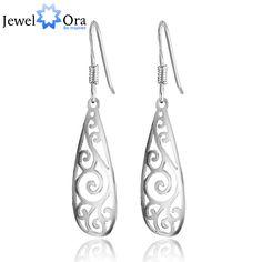 ヴィンテージ銀長いイヤリングフィリグリーティファッションジュエリードロップピアス女性(jewelora EA101466)