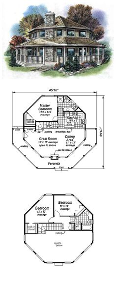 COOL House Plan ID: chp-14574 | Total living area: 1423 sq ft, 3 bedrooms & 2 bathrooms. #octogonal #houseplan