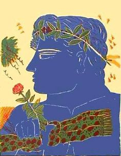 Alexandre Fassianos - Profil Bleu à la Rose: Graphic Print. Graphic Prints, Poster Prints, Greek Art, Conceptual Art, Artist Art, Love Art, Contemporary Art, Rose, Paradise