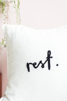 DIY Needle Felted Lettered Cushion   @fallfordiy