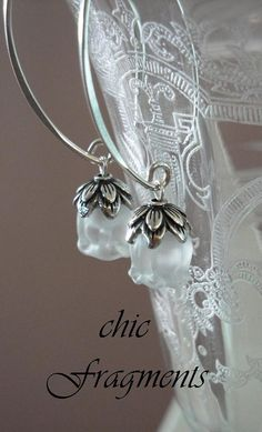 Genuine LALIQUE MUGUET CRYSTAL Earrings. Sterling Silver. Lily Of The Valley Flowers