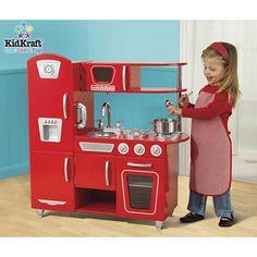 Bright Red Vintage Kitchen