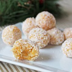 Coconut apricot balls are a no-bake dessert made with four ingredients—dried apricots, shredded coconut, walnuts and sweetened condensed milk. No Bake Desserts, Dessert Recipes, A Food, Food And Drink, Apricot Recipes, Coconut Balls, Dried Apricots, Tasty Dishes, Baking Recipes
