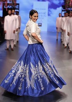 Light Lehengas - White Blouse with Blue Royal Skirt | WedMeGood | Blue Lehenga with Silver Motifs and a White Full Blouse #wedmegood #indianwedding #indianbride #blue #skirt #embroidery