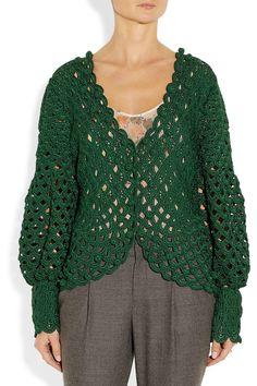 Oscar de la Renta | Green Crochet/ Knit Silk Cardigan | Lyst