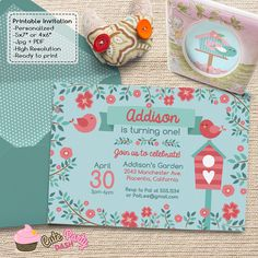Cute Little Bird Birthday Party invitations by CutePartyDash