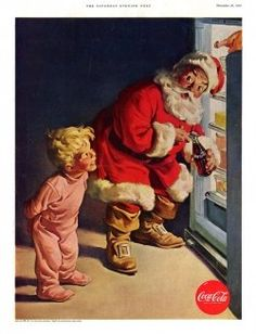 Christmas poster from Coca-Cola Bottling Company (1930's or 1940's) - late 19th cent. newspaper cartoonist Thomas Nast first developed the image of the American Santa Claus borrowed by Coke