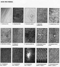 """Basic Pen Strokes - creating texture.  Taken from """"The Technical Pen"""" by Gary Simmons"""