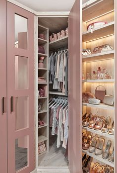Wardrobe Closet Design Pink Furniture Cupboard Home Dressing Room Walk In Closet Design, Bedroom Closet Design, Girl Bedroom Designs, Home Room Design, Closet Designs, Bedroom Wardrobe, Wardrobe Closet, Pink Wardrobe, Fitted Wardrobe Interiors
