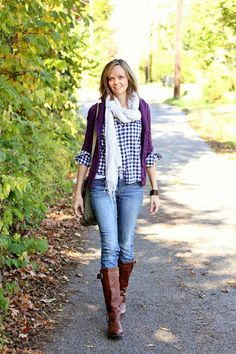 Casual fall outfit: Layers (gingham, knit, scarf) with skinny jeans, tall boots, and a messenger bag.