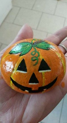 Hand Painted Rocks Stones Halloween Pumpkin