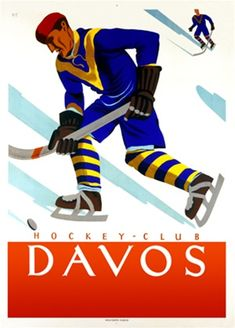 Hockey Club Davos by WT 1928 Switzerland - Beautiful Vintage Poster Reproduction. This vertical Swiss exhibition poster features a skater on the ice in a blue uniform about to hit the puck with his stick. Giclee Advertising Print. Classic Posters