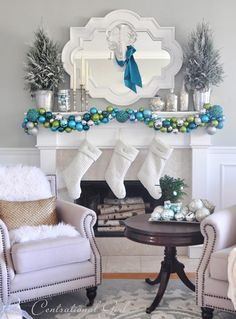 Simple tutorial for a gorgeous ornament garland. So easy and elegant!! I've used mine on the piano, mantel, around punch bowls. Such versatile decor. Mine was inspired by Kate's. It's gorgeous.