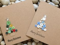 Button Christmas Cards, Christmas Tree Cards, Simple Christmas Cards, Christmas Buttons, Christmas Card Crafts, Button Cards, Homemade Christmas Cards, Xmas Cards, Homemade Cards