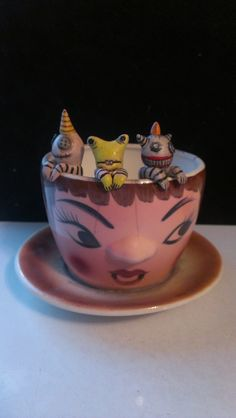 3 Little Monsters in an Egg Cup; Mary-Lynne Moffatt Art