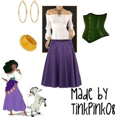 Esmeralda, created by tinkpink08.polyvore.com #fashion #disneyfashion #disneyoutfit #disney #esmeralda