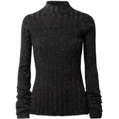 Theory Metallic ribbed merino wool-blend turtleneck sweater ($295) ❤ liked on Polyvore featuring tops, sweaters, black, ribbed turtleneck, ribbed sweater, turtleneck top, turtle neck top and metallic top