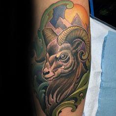 100 Ram Tattoo Designs For Men - Bighorn Sheep Ink Ideas Aries Symbol Tattoos, Aries Ram Tattoo, Horoscope Tattoos, Zodiac Tattoos, Elegant Tattoos, Beautiful Tattoos, Widder Tattoos, Sheep Tattoo, Tattoo Maker