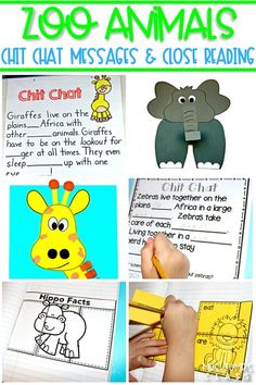 Zoo Animals unit packed full of resources! Engaging and fun activities. Chit Chat messages, close reading passages, crafts, and more! #chitchat #closereading #zooactivities #zoocrafts