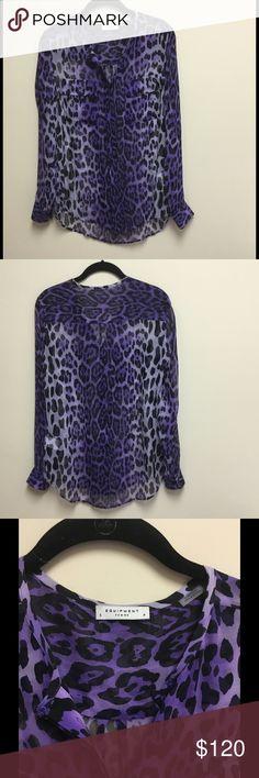 Selling this Sheer Designer Purple Leopard Collarless Blouse on Poshmark! My username is: ead3456. #shopmycloset #poshmark #fashion #shopping #style #forsale #Equipment #Tops