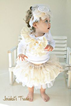 Ivory Holiday Portrait Skirt Set Luxe White Newborn to 4T Glam