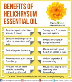 Health Benefits of Helichrysum Essential Oil | Organic Facts: Health benefits of Helichrysum Essential Oil can be attributed to its properties as an antispasmodic, anticoagulant, antiallergenic, antimicrobial, antihaematoma, antiphlogistic, nervine, antiinflammatory, antitussive, cicatrisant, expectorant, febrifuge, anti septic, cholagogue, emollient, mucolytic, fungicidal, hepatic, diuretic, splenic and cytophylactic substance.
