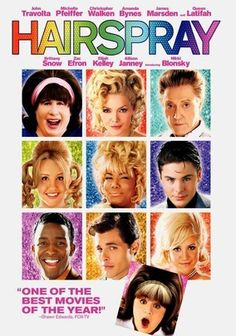 Hairspray (2007) Set in 1962, this colorful adaptation of the Tony-winning musical (spawned by director John Waters's cult classic of the same name) follows ambitious teen Tracy Turnblad (Nikki Blonsky), who tries to integrate a racially divided Baltimore one watusi at a time. The film's star-studded cast includes John Travolta, Queen Latifah, Michelle Pfeiffer, Christopher Walken, Allison Janney, James Marsden and Amanda Bynes.