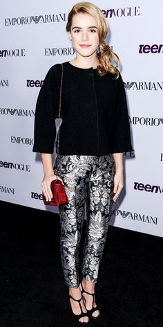 SEPTEMBER 2013 Kiernan Shipka WHAT SHE WORE Shipka made a statement in Emporio Armani, dressing up a black boxy top with statement iridescent printed pants that she styled with black strappy heels and a red Swarovski purse. Krysten Ritter, Keri Russell, Kirsten Dunst, Kate Bosworth, Stylish Dress Designs, Stylish Dresses, Stylish Outfits, Keira Knightley, Kristen Stewart